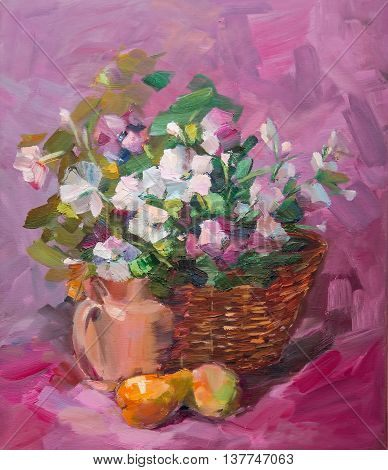 Oil Painting Impressionism style the texture of oil painting flower still life painting art painted color image color wallpapers and backgrounds canvas artist painting a floral design a bouquet of flowers and pears