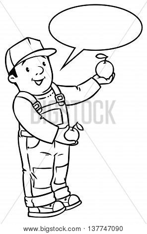 Coloring book of funny farmer or gardener in overall and baseball cap with apples in his hands. Profession series. Children vector illustration. With balloon for text.