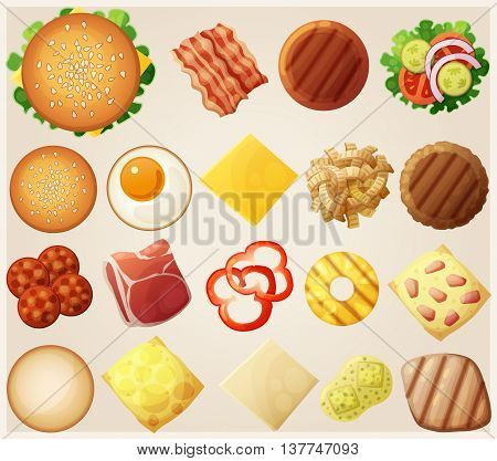 Burgers set. Top view. Ingredients: buns, cheese, bacon, tomato, onion, lettuce, cucumbers, pickle onions, beefs, ham. Vector illustration.