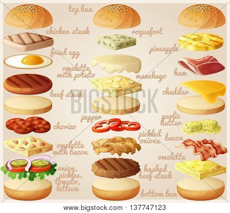 Burgers set. Ingredients: buns, cheese, bacon, tomato, onion, lettuce, cucumbers, pickle onions, beefs, ham. Vector illustration.