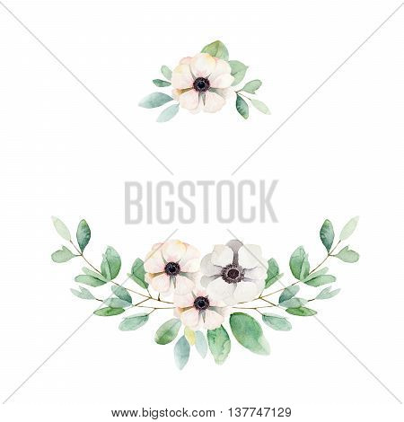 Floral composition with anemones and leaves. Watercolor illustration