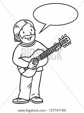 Coloring book of funny musician or guitarist or artist with guitar. Profession series. Children vector illustration. With balloon for text.