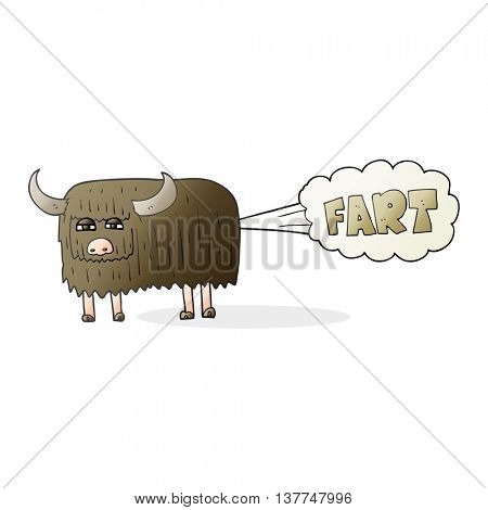 freehand drawn cartoon hairy cow farting