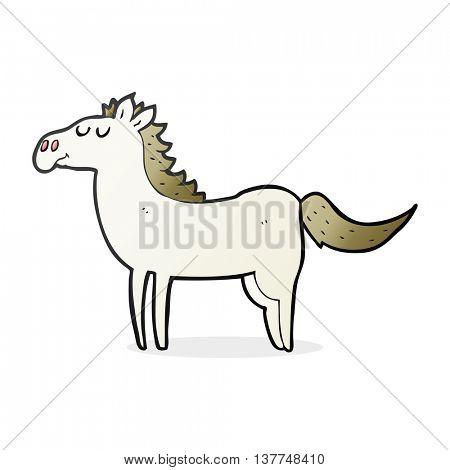 freehand drawn cartoon horse