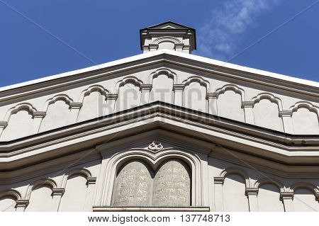 Details of facade of Tempel Synagogue in jewish district of Krakow - Kazimierz Poland
