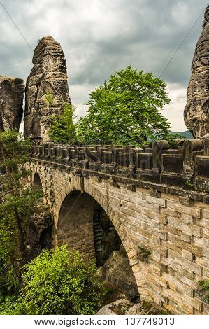 Bastei Bridge In Saxon Switzerland In Summer