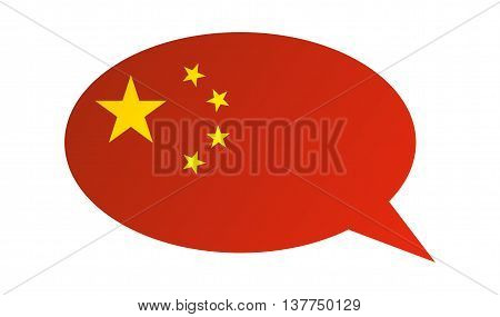 Conversation dialogue bubble of the China on white background