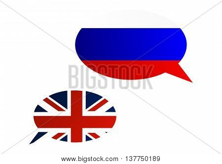 Conversation Bubbles Between Russia And United Kingdom