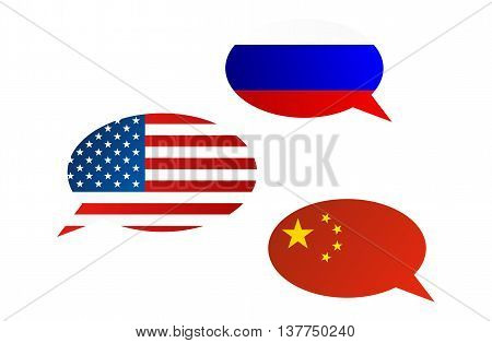 Conversation Bubbles Between Russia, China And Usa