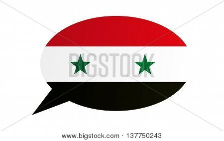 Conversation dialogue bubble of the Syria on white background