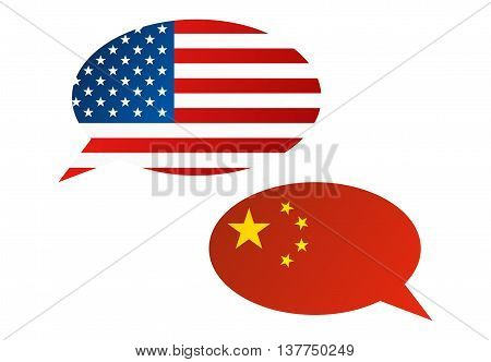 Conversation Bubbles Between Usa And China