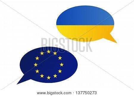 Conversation Bubbles Between European Union (eu) And Ukraine