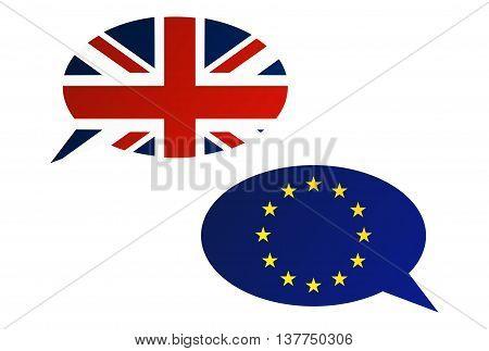 Conversation Dialogue Bubbles Between Eu And United Kingdom