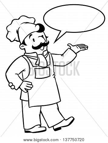 Coloring picture or coloring book of funny cook or chef. Profession series. Children vector illustration. With balloon for text