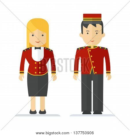 Profession Hotel Service Man And Woman