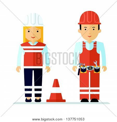 Profession Worker Man And Woman