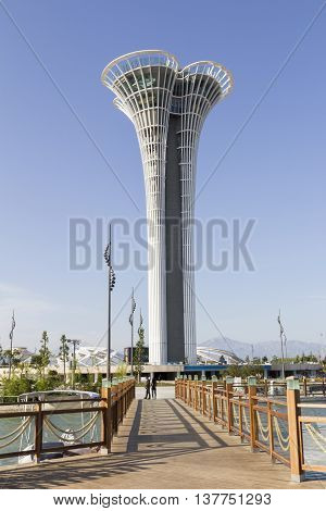 Antalya Turkey - June 06 2016 Tower of Antalya Botanic Expo 2016. Botanic Expo takes place April 23 - October 30 2016 with expected 8 million visitors.Expo tower is 114m high.