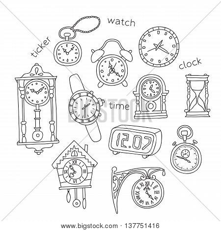 Illustration Of Doodle Clocks.