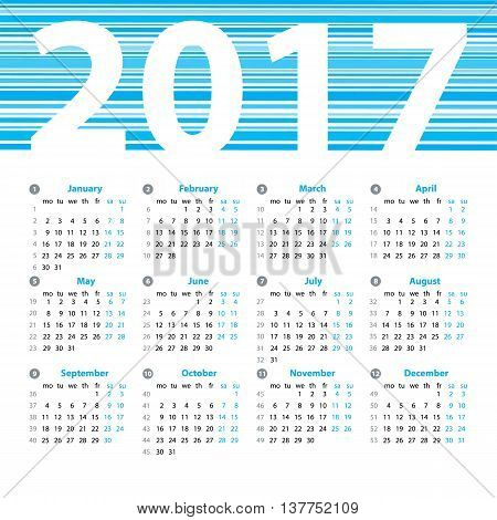 Calendar 2017 Year Vector Design Template With Week Numbers And Months ...