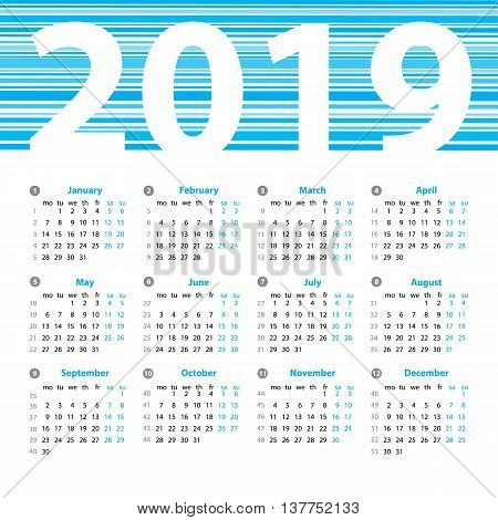 Calendar 2019 Year Vector Design Template With Week Numbers And Months