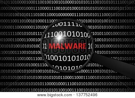 Binary Code With Malware And Magnifying Lens