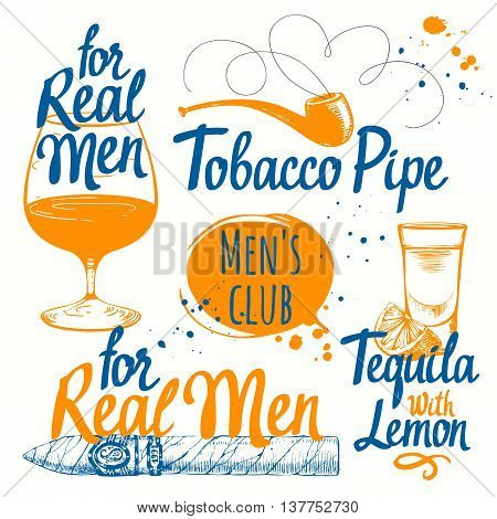 Drinks and cigars in sketch style. Vector illustration with cigars pipes tequila and brandy.