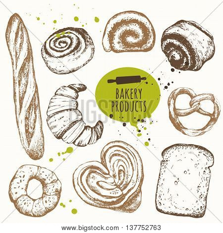 Set of hand drawn buns bread baguette pretzel and croissant. Black and white sketch food. Fresh organic food.
