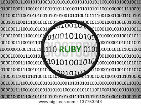 Binary Code With Ruby And Magnifying Lens