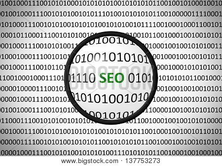 Binary Code With Seo And Magnifying Lens