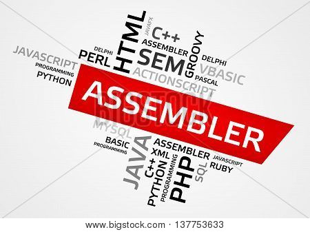 Assembler Word Cloud, Tag Cloud, Vector Graphics