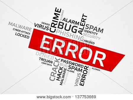 Error Word Cloud, Tag Cloud, Vector Graphics