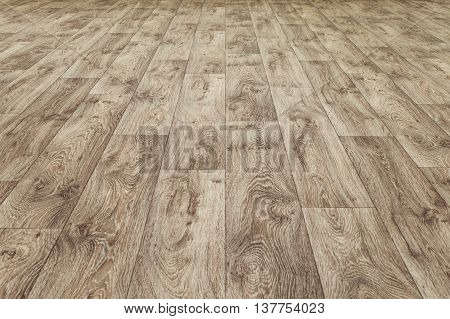 Linoleum flooring with embossed wood texture. Dark brown floor. Horizontal layout perspective.