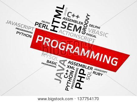 Programming Word Cloud, Tag Cloud, Vector Graphics
