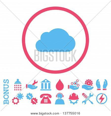 Cloud vector bicolor icon. Image style is a flat pictogram symbol inside a circle, pink and blue colors, white background. Bonus images are included.