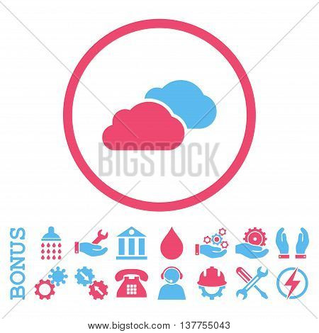 Clouds vector bicolor icon. Image style is a flat pictogram symbol inside a circle, pink and blue colors, white background. Bonus images are included.