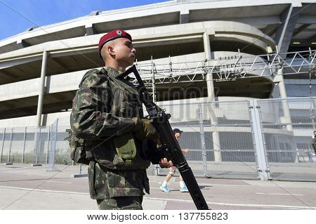 Rio Brazil - july 09 2016: National Force starts to make safety in the Olympic arenas on Saturday morning. Soldiers are near the Maracana Stadium