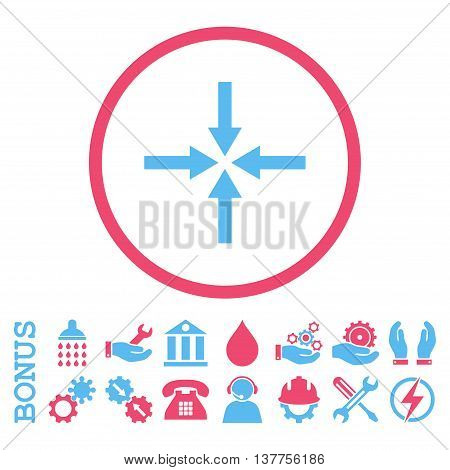 Impact Arrows vector bicolor icon. Image style is a flat pictogram symbol inside a circle, pink and blue colors, white background. Bonus images are included.