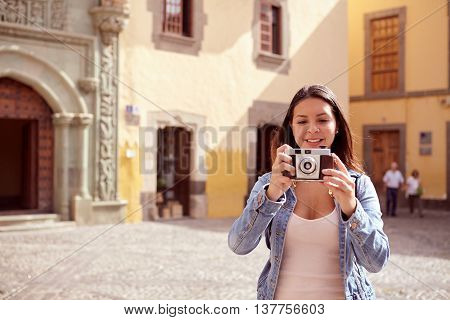 Pretty Young Girl Focusing On Camera