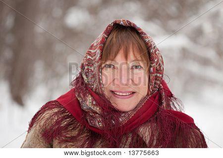 Woman  Wearing Kerchief In Winter