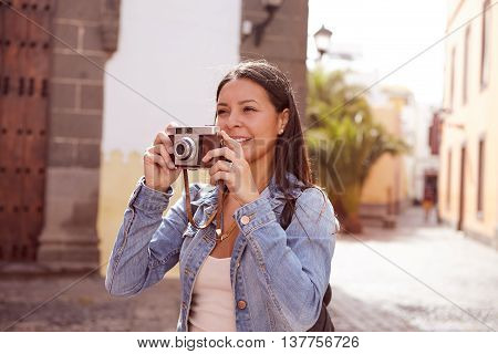 Pretty Young Girl Smiling At Herself