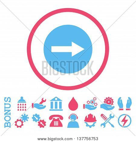 Right Rounded Arrow vector bicolor icon. Image style is a flat pictogram symbol inside a circle, pink and blue colors, white background. Bonus images are included.