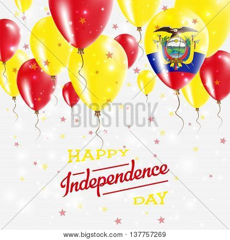 Ecuador Vector Patriotic Poster. Independence Day Placard With Bright Colorful Balloons Of Country N