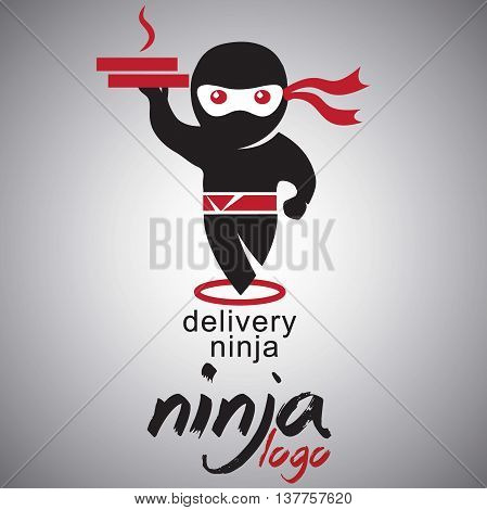 delivery ninja logo concept designed in a simple way so it can be use for multiple proposes like logo ,marks ,symbols or icons.