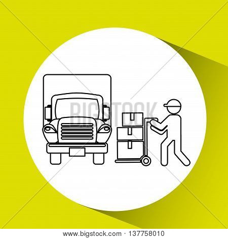 transportation delivery service box warehouse isolated, vector illustration