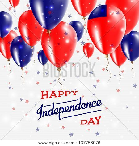 Samoa Vector Patriotic Poster. Independence Day Placard With Bright Colorful Balloons Of Country Nat
