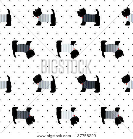 Scottish terrier in a sailor t-shirt seamless pattern.Cute dogs on polka dots background illustration. French style dressed dog with red medal and striped frock. Design for textile, fabric and decor.