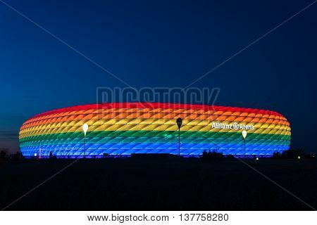 MUNICH, GERMANY - JULY 9, 2016: Allianz Arena illuminated in rainbow light on Christopher Street Day