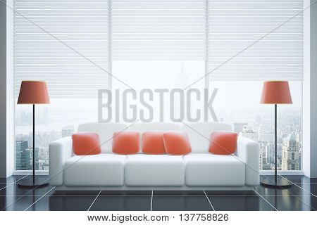 Front view of modern living room interior with red pillows on white couch floor lamps tile floor and panoramic window with blinds and city view. 3D Rendering