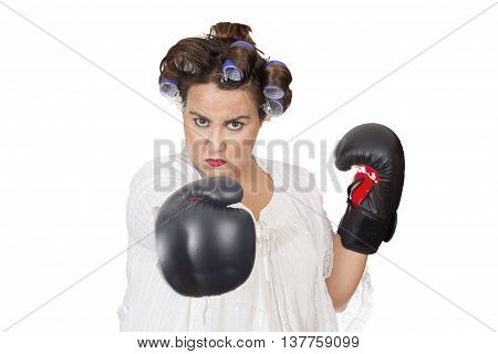 woman wearing boxing gloves learning self defence