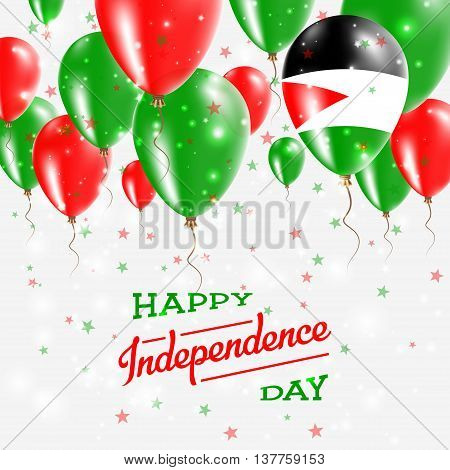 Palestine, State Of Vector Patriotic Poster. Independence Day Placard With Bright Colorful Balloons